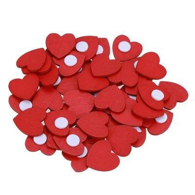 Pack of 100 Mini Wood Red Heart Stickers. Craft, Scrapbooking, Cardmaking & Decorating. 13mm x 18mm £6.79