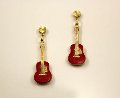 Hand Painted Red Guitar Magnetic Non Pierced Clip Earrings $35.00 Designed by LauraWilson.com