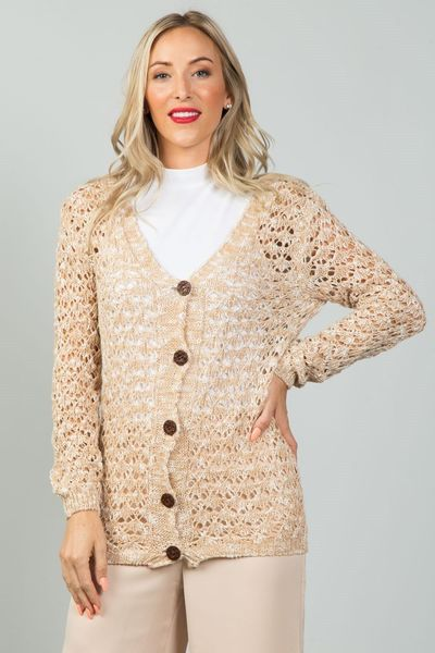 Ladies fashion button down closure crochet knitted color-block cardigan $20.51