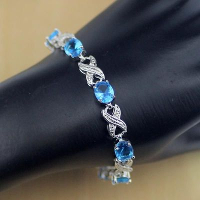 925 Sterling Silver Jewelry Blue CZ White Zircon Chain Link Bracelet For Women $22.92