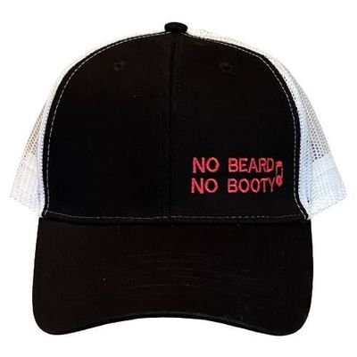 """THIGHBRUSH® """"NO BEARD, NO BOOTY"""" - Trucker Snapback Hat - Black and White with Pink"""