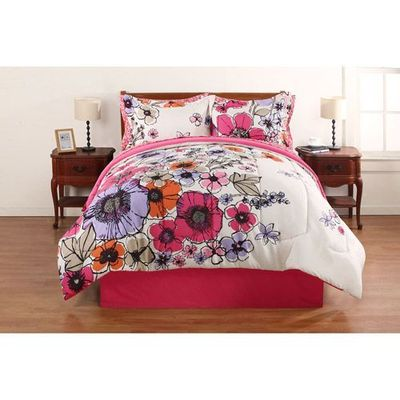 Hometrends Watercolor Floral Bed in a Bag Bedding Set