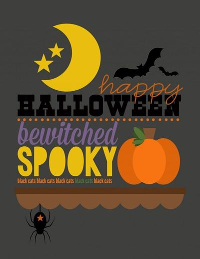 Get in the Halloween mood with a free printable poster from Jen Gallacher. Use full size, or scale down to use in your scrapbook.