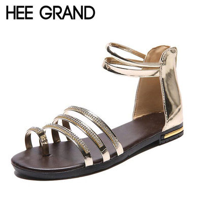 HEE GRAND Women Sandals Crystal Bling Gladiator Flip Flops Summer Casual Shoes For Woman XWZ3742 £29.97
