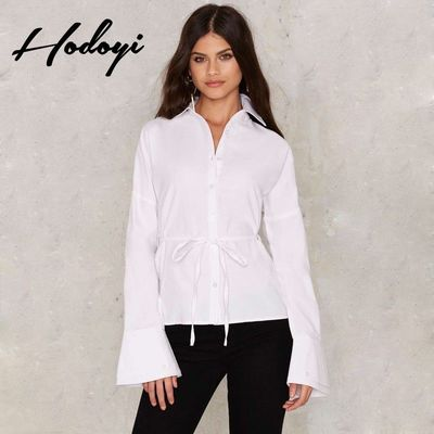 Vogue Sexy Hollow Out Curvy Summer Tie Blouse - Bonny YZOZO Boutique Store