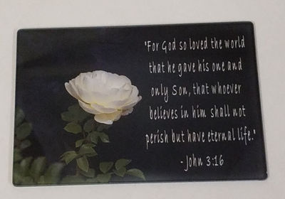 Bible Verse John 3:16 With a Rose, on Glass. Art, Glass Panels. Personalized Photo Glass Panel, Print Your Picture on Glass Panel $25.00
