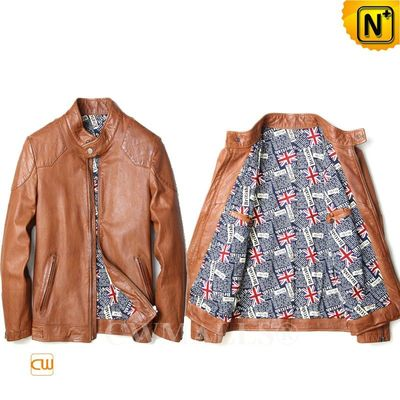 Father's Day Gifts | Men Calfskin Leather Motorcycle Jacket CW808051 | CWMALLS.COM