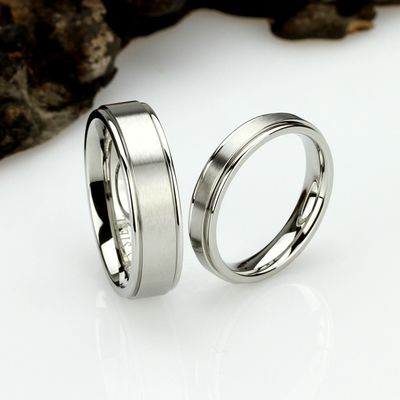 His And Hers Stainless Steel Wedding Band Set, 6mm, 4mm, Matte Ring, Stainless Steel Promise Ring Set, Steel Ring For Couple $71.00