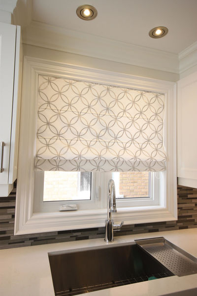 "Flat Roman Shade ""Metric Silver"" with geometric embroidery pattern , linen roman shade, with chain mechanism, custom made window treatments $225.00"