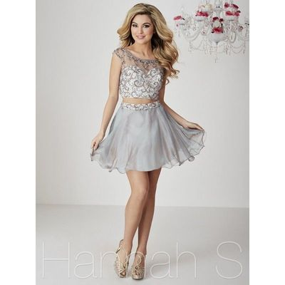 Hannah S 27093 Iridescent Beaded 2pc Short Party Dress - Brand Prom Dresses|Beaded Evening Dresses|Charming Party Dresses