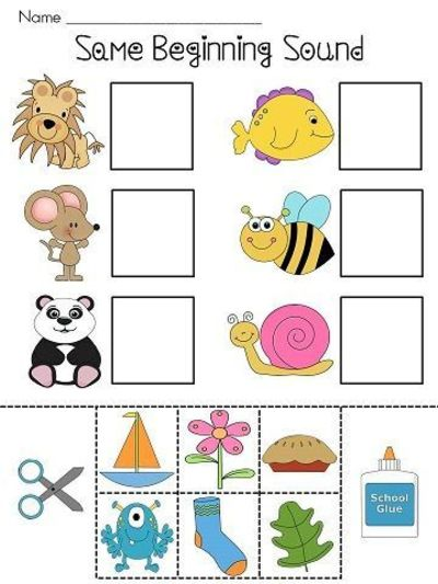Beginning Sounds Cut And Paste Worksheets Kids Match The T