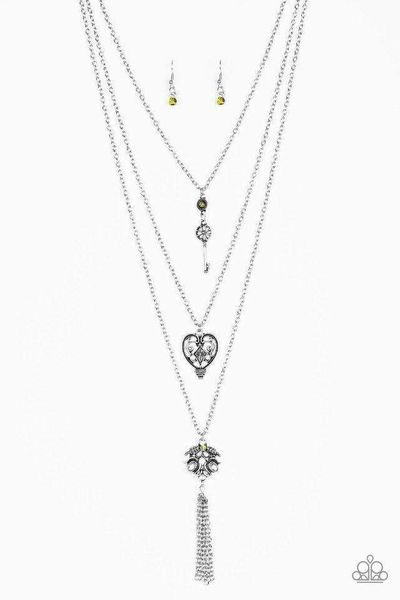 Paparazzi Love Opens All Doors - Green Rhinestone Accent Silver Key Heart Leafy Charm Pendant Layered Necklace $5.00