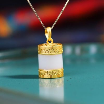 Unique Charm Jewelry - Amulet jewelry necklace - Hip Hop Chain Necklace - Gold-plated inlaid necklace - White jade inlaid necklace