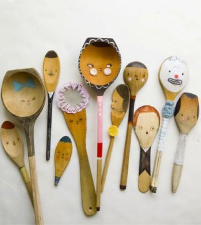 Cute little spoon people! You can pick up wooden spoons at the dollar store or even the thrift store. Are your kids into playing make believe with everything?
