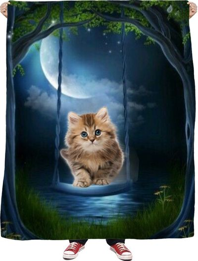 Kitty Swing Fleece Blanket $65.00