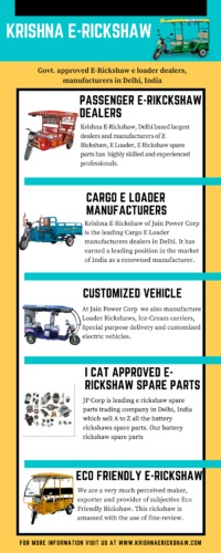 E-Rickshaw E-Loader dealers,manufacturers in Delhi India. Krishna E-Rickshaw, brand of JP Corp is one of the largest suppliers and dealers of passenger E-rickshaw, cargo E-Loader and I-Cat approved spare parts for manufacturing Electrical & battery ri...