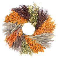 The warm, seasonal palette of this preserved grass wreath brings harvest abundance to your front door or mantel.