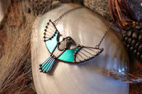 Magpie Necklace, Stained Glass Pendant, Fairytale Gifts, Bird Necklace, Magpie Charm $56.00