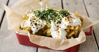 When I was pregnant with my youngest son, I ate Urban Fries from Jack's Urban Eats in Sacramento probably once a week. Urban Fries are french fries topped with