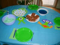 Monsters Inc. Movie Night. Boo's Baby Meatloaves, Mike's Monster Mashed Potatoes, Sully's Slimy Blue Jello, Mike's ONE EYE! cookies. Randall's invisable kool-aid