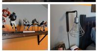 Cool Boys Room! Using metal, wood, rope and pipe you can create some pretty cool and unique things that any boy would love! aqualanedesign.com #orange #grey #boysroom #palletsign #rope #hexnuts #drawerpulls #diy #pendantlight #edisonbulb #sports #pipe #cu...