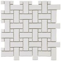 Try a new look: Basket Weave! Merola Tile Basket Weave White Porcelain Mosaic Tiles - great for floor and wall uses!