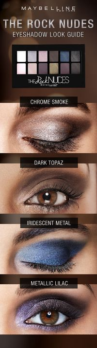 Answer the call of spring with this seductive metallic eye makeup that goes from dangerously smoky to dark topaz and from irresistible iridescent metal to lustrous lilac. Whatever your mood, we got the look with the new Maybelline Rock Nudes eyeshadow pal...
