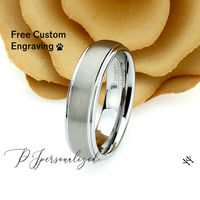 Matte Tungsten Wedding Band Men, Custom Engraving 6mm Domed Tungsten Ring Men, Tungsten Carbide Mens Promise Ring, Couple Gift $66.00