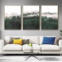 Abstract tree Landscape painting green set of 3 Wall Art framed painting 3 pieces Abstract acrylic paintings on canvas original $163.53