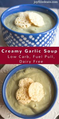 Creamy Garlic Soup - Low Carb, Dairy Free, Fuel Pull - This Garlic Soup is rich & creamy while being a dairy free fuel pull. The creaminess comes from a combination of okra, cauliflower, and coconut oil. via