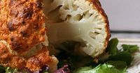 Whole Roasted Cauliflower, serve with flavorful sauce. 8 Genius Ways to Use Veggies You Never Would Have Thought Of