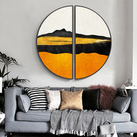 Framed painting Gold art set of 2 wall art gold mountain black Ymipainting landscape semicircle painting wall pictures abstract painting $449.00