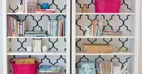 This is the idea, though I'd want more color A Fabulous DIY Bookcase: paint bookshelf, modpodge wrapping paper on the back of the shelves (paint shelves an alt color maybe?) then spray paint some accessories in bright, kid-friendly colors. Loo...