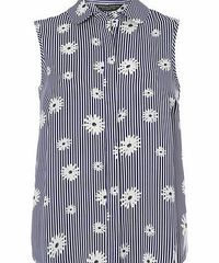 Dorothy Perkins Womens Navy Stripe Daisy Sleeveless Top- Blue Navy and ivory stripe daisy print sleeveless shirt with collar detail. Length is approximately 65cm. 100% Polyester. Machine washable. http://www.comparestoreprices.co.uk//dorothy-perkins-w...