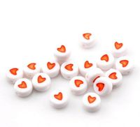 100 x Red & White Round Acrylic Heart Beads. 7mm x 3mm. Perfect for Creating Beautiful Romantic Bracelets and Earrings For Valentine's Day. £2.79