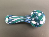 Girly & Sparkly Blue Glass Spoon Tobacco Pipe with Pink and Teal Polka Dots $40.00