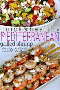 Greek Grilled Shrimp and Farro- A light and refreshing summer dinner that's low on calories but BIG on flavor! I always have a hard time figuring out what to na