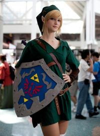 """""""Link, Legend of Zelda cosplay."""" Sort of rule 63, except I think she is just purely intended to be Link."""