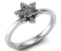 Birthday Gift White Gold Flower Ring Promise Ring Unique Engagement Ring with Side Diamonds Floral ring Birthday Gift For Her day $682.00