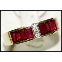 Genuine Ruby and Diamond Unique 18K Yellow Gold Ring [RQ0013]