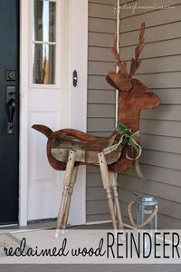 Outdoor Christmas Decorating: Reclaimed Wood Reindeer - Finding Home