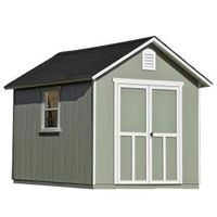 Handy Home Products Installed Meridian 8 ft. x 10 ft. Wood Storage Shed with Black Onyx Shingles-60755-4 - The Home Depot