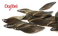 Pack of 50 Bronze Filigree Leaf Connector Charms. Nature Theme Pendants. 33mm x 10mm. £4.29