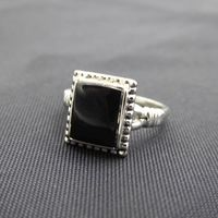 Square Deco Style Ring Size 7 3/4 Sterling Silver and Black Lucite Square Face, Modernist Style Vintage 1990s Abstract Minimalist Design $32.00