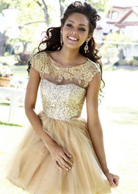 Sheer Beaded Lace Neck Sherri Hill 21217 Gold Homecoming Dress