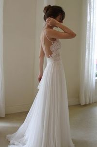 Soft simple wedding dress