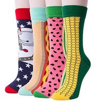 4 Pack Of Men's Colorful Art Patterned Funny Casual Cotton Crew Socks $7.99