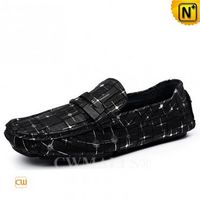 Haute Couture | Mens Printed Leather Driving Moccasins CW708225 | CWMALLS.COM