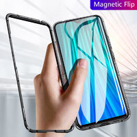 Bakeey Magnetic Adsorption Metal Tempered Glass Flip Protective Case for Xiaomi Redmi Note 8 Pro