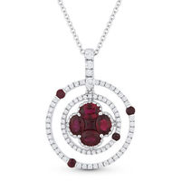 1.30ct Ruby & Diamond Circle & Flower Pendant in 18k White Gold w/ 14k Chain Necklace - AM-DN4705